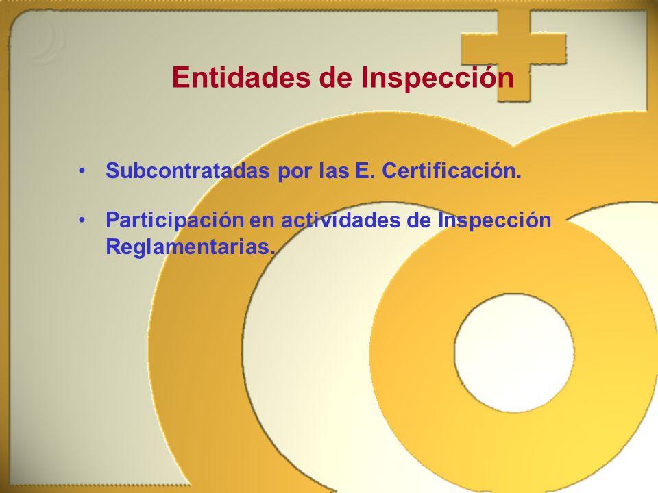 Subcontratadas por las E. Certificación. Entidades de Inspección Participación en actividades de Inspección Reglamentarias.