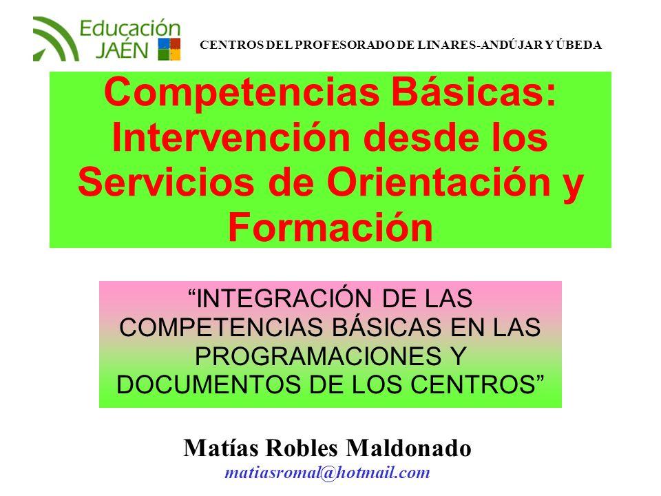 Competencias Básicas: Intervención desde los Servicios de Orientación y Formación INTEGRACIÓN DE LAS COMPETENCIAS BÁSICAS EN LAS PROGRAMACIONES Y DOCU