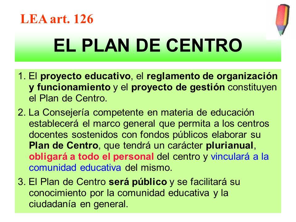 EL PLAN DE CENTRO 1. El proyecto educativo, el reglamento de organización y funcionamiento y el proyecto de gestión constituyen el Plan de Centro. 2.