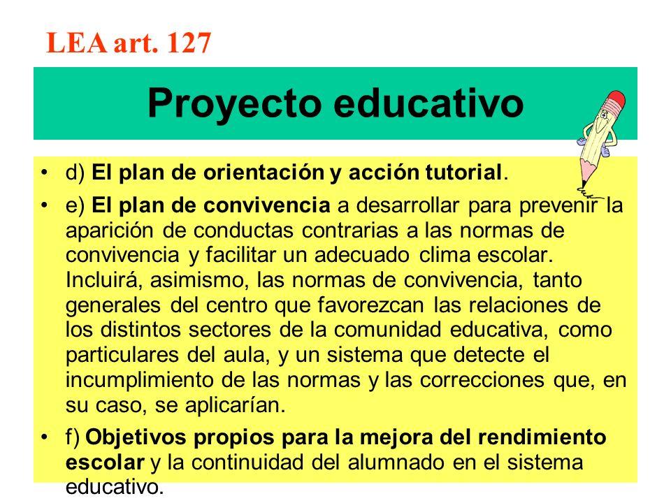 Proyecto educativo d) El plan de orientación y acción tutorial. e) El plan de convivencia a desarrollar para prevenir la aparición de conductas contra
