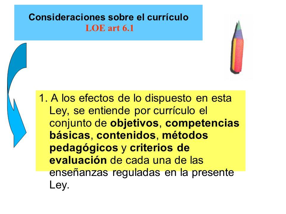 Consideraciones sobre el currículo LOE art 6.1 1. A los efectos de lo dispuesto en esta Ley, se entiende por currículo el conjunto de objetivos, compe