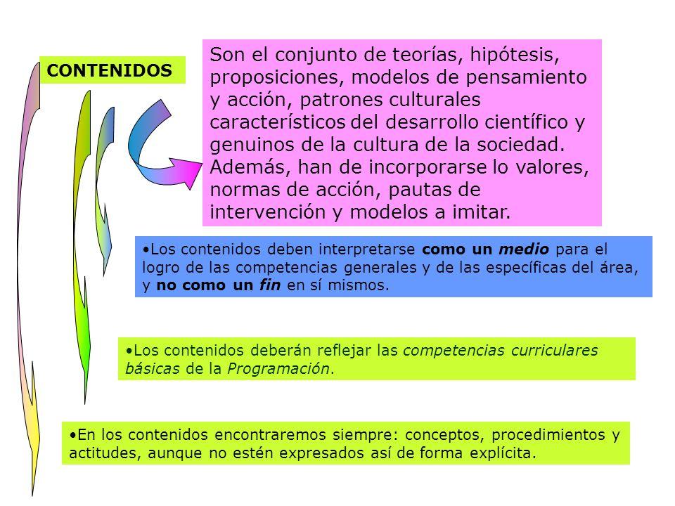 CONTENIDOS Son el conjunto de teorías, hipótesis, proposiciones, modelos de pensamiento y acción, patrones culturales característicos del desarrollo c