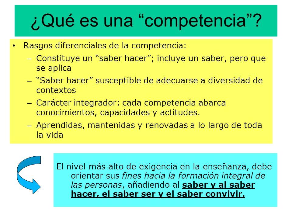 ¿Qué es una competencia? Rasgos diferenciales de la competencia: – Constituye un saber hacer; incluye un saber, pero que se aplica – Saber hacer susce