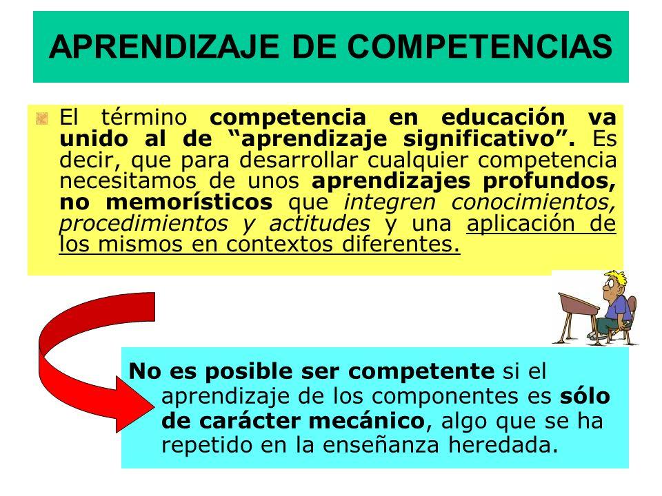 APRENDIZAJE DE COMPETENCIAS El término competencia en educación va unido al de aprendizaje significativo. Es decir, que para desarrollar cualquier com