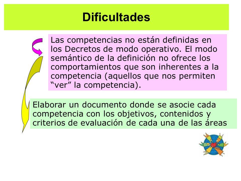 Dificultades Elaborar un documento donde se asocie cada competencia con los objetivos, contenidos y criterios de evaluación de cada una de las áreas L
