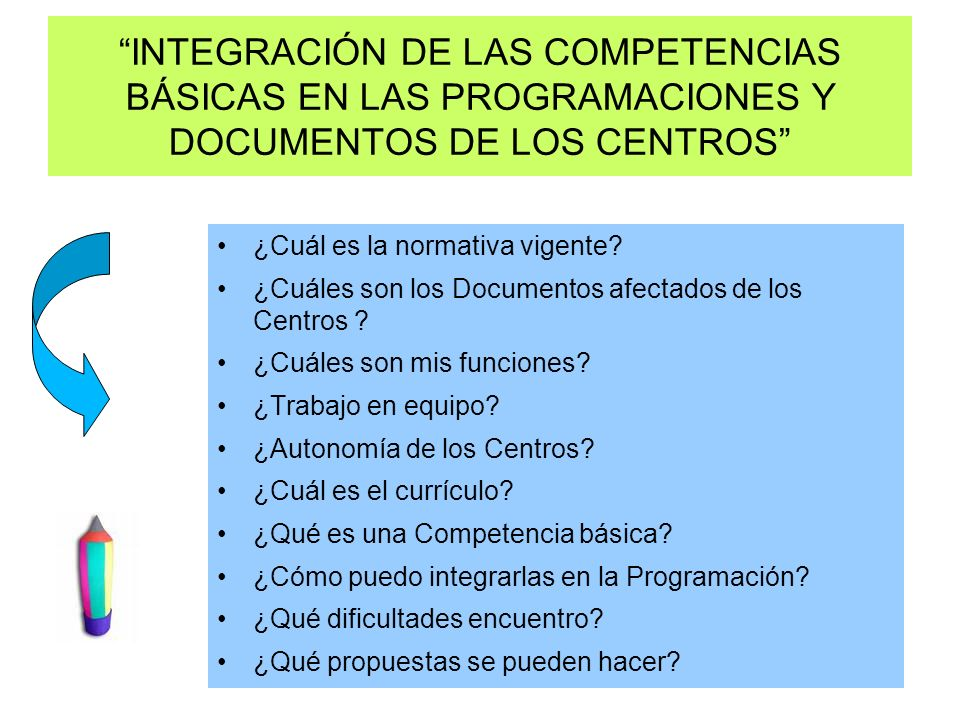 INTEGRACIÓN DE LAS COMPETENCIAS BÁSICAS EN LAS PROGRAMACIONES Y DOCUMENTOS DE LOS CENTROS ¿Cuál es la normativa vigente? ¿Cuáles son los Documentos af