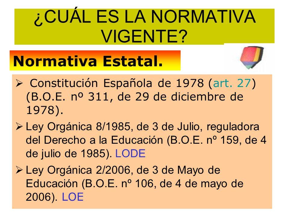 ¿CUÁL ES LA NORMATIVA VIGENTE? Constitución Española de 1978 (art. 27) (B.O.E. nº 311, de 29 de diciembre de 1978). Ley Orgánica 8/1985, de 3 de Julio