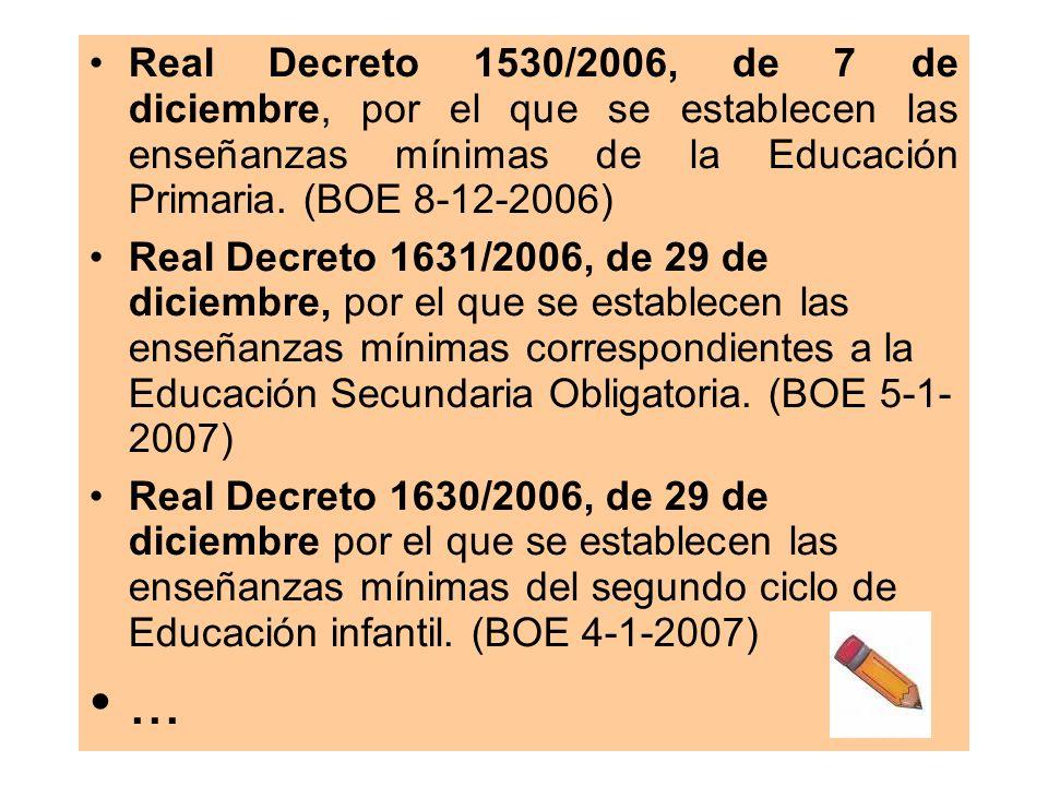 Real Decreto 1530/2006, de 7 de diciembre, por el que se establecen las enseñanzas mínimas de la Educación Primaria. (BOE 8-12-2006) Real Decreto 1631