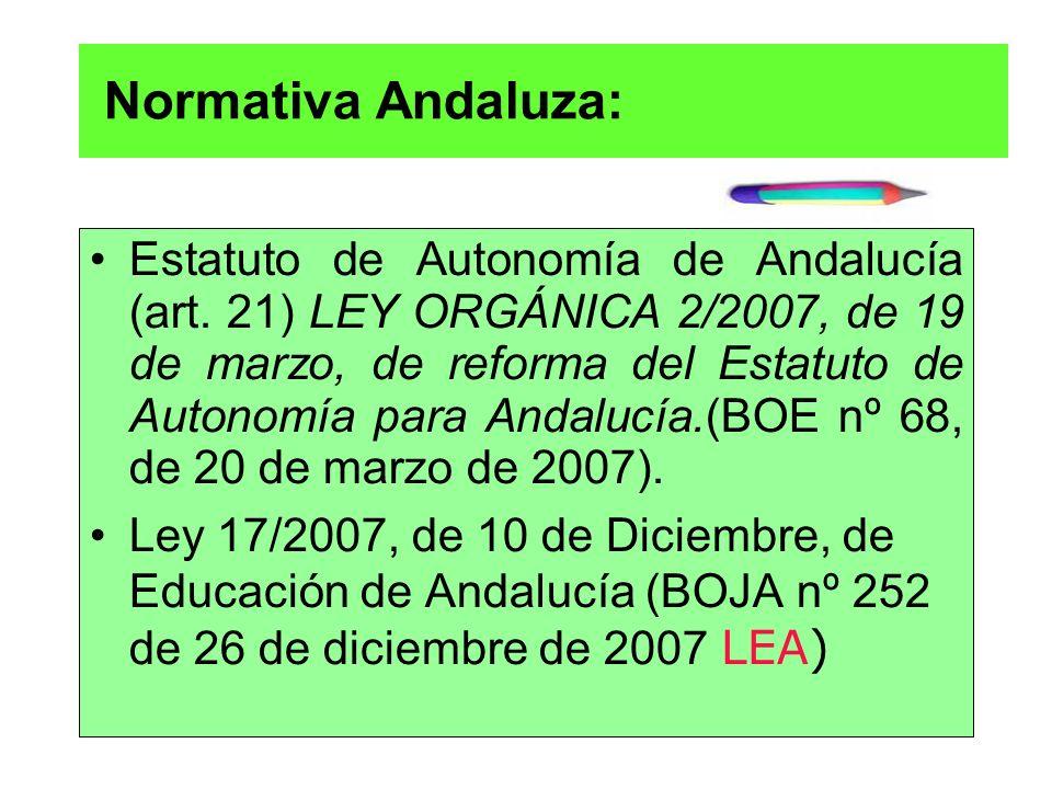 Normativa Andaluza: Estatuto de Autonomía de Andalucía (art. 21) LEY ORGÁNICA 2/2007, de 19 de marzo, de reforma del Estatuto de Autonomía para Andalu