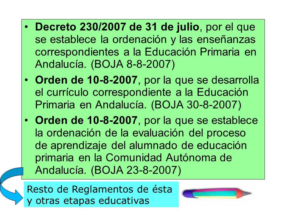 Decreto 230/2007 de 31 de julio, por el que se establece la ordenación y las enseñanzas correspondientes a la Educación Primaria en Andalucía. (BOJA 8
