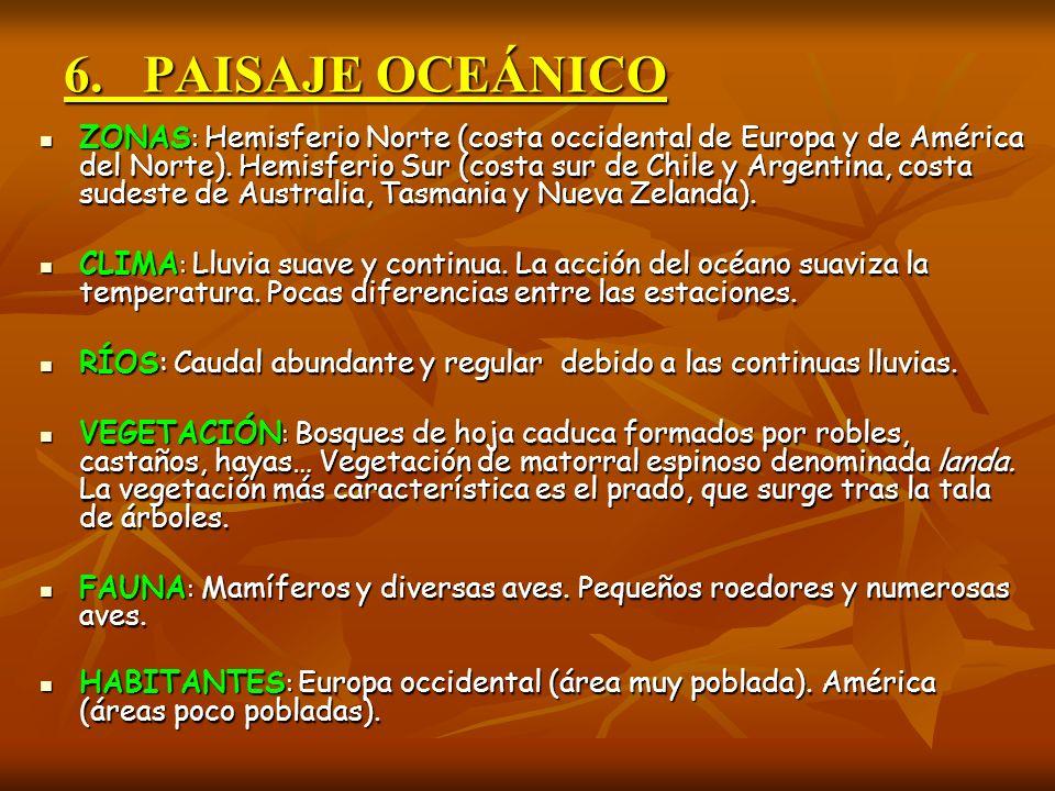 6. PAISAJE OCEÁNICO ZONAS : Hemisferio Norte (costa occidental de Europa y de América del Norte). Hemisferio Sur (costa sur de Chile y Argentina, cost