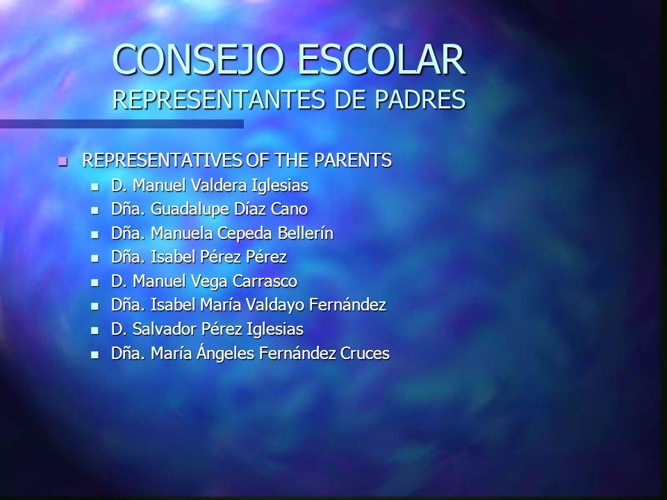CONSEJO ESCOLAR REPRESENTANTES DE PADRES REPRESENTATIVES OF THE PARENTS REPRESENTATIVES OF THE PARENTS D. Manuel Valdera Iglesias D. Manuel Valdera Ig