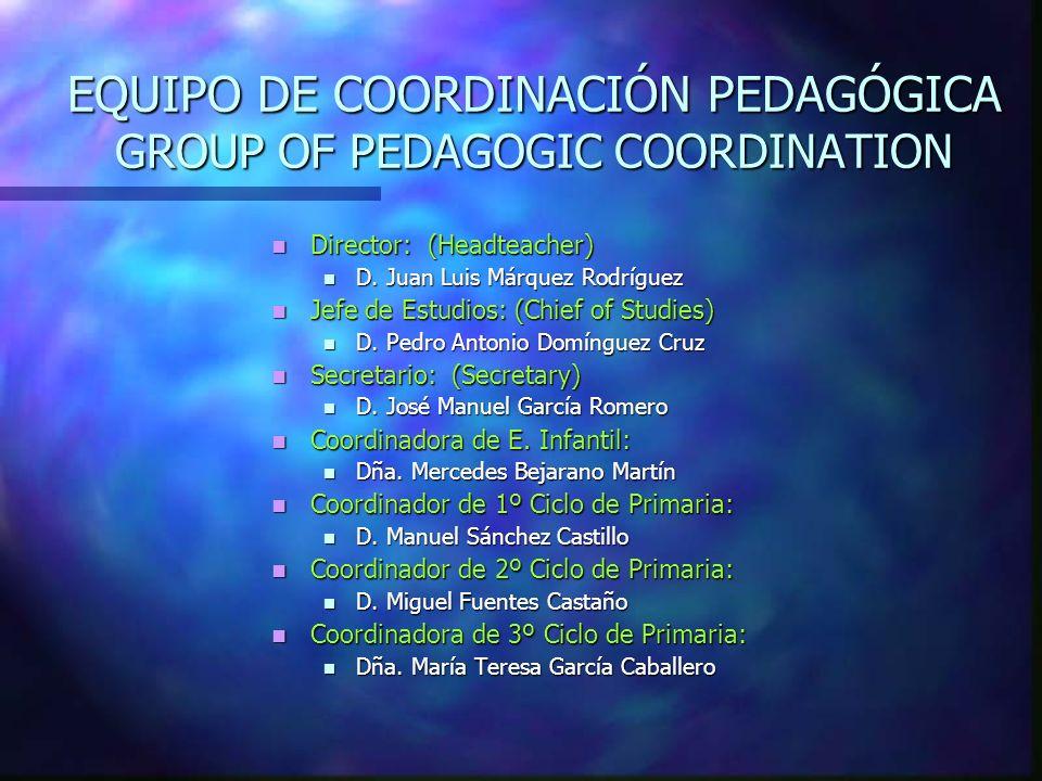 EQUIPO DE COORDINACIÓN PEDAGÓGICA GROUP GROUP OF PEDAGOGIC COORDINATION Director: (Headteacher) Director: (Headteacher) D. Juan Luis Márquez Rodríguez