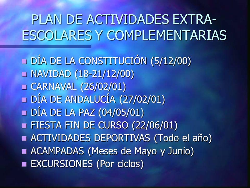 PLAN DE ACTIVIDADES EXTRA- ESCOLARES Y COMPLEMENTARIAS DÍA DE LA CONSTITUCIÓN (5/12/00) DÍA DE LA CONSTITUCIÓN (5/12/00) NAVIDAD (18-21/12/00) NAVIDAD