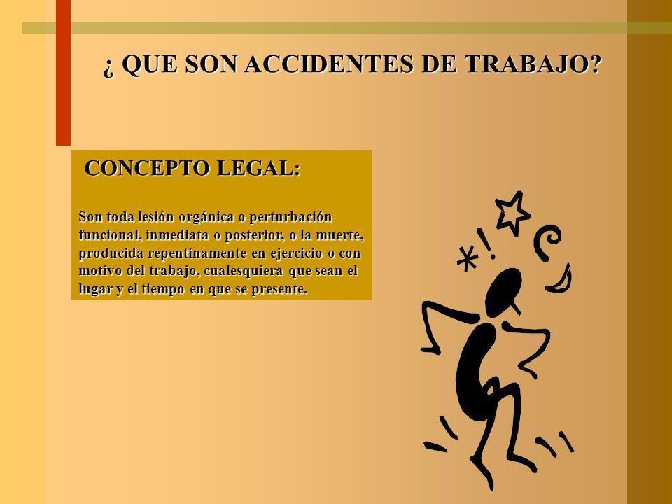 ¿ QUE SON ACCIDENTES DE TRABAJO? Son sucesos imprevistos que interfieren en el desarrollo de una actividad y provocan una lesión. Lesiones que pueden
