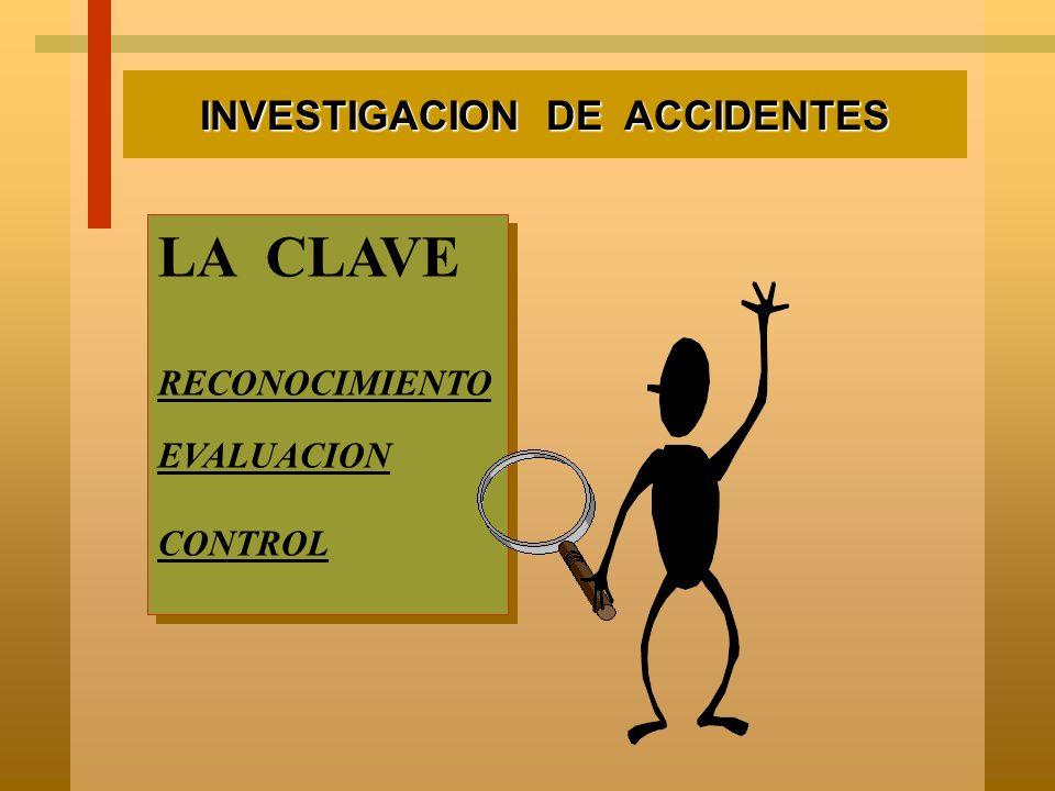 INVESTIGACION DE ACCIDENTES ¿ LO CLASIFICO ? INCIDENTE n no lesión a persona n no daño máquinaria n no disminuye eficiencia de operación.ACCIDENTE n l