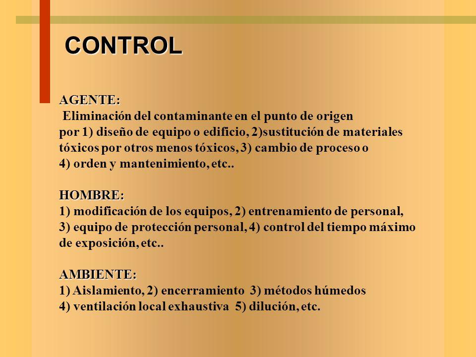 EVALUACION AGENTE: Conocer el nivel o concentración del agente en el ambiente laboral, sus características fisicoquímicas, su patogenicidad, etc.HOMBR