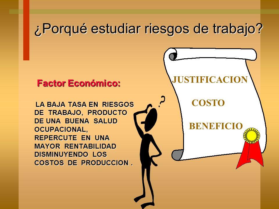 Factor Económico: Factor Económico: LA BAJA TASA EN RIESGOS DE TRABAJO, PRODUCTO DE UNA BUENA SALUD OCUPACIONAL, REPERCUTE EN UNA MAYOR RENTABILIDAD DISMINUYENDO LOS COSTOS DE PRODUCCION.
