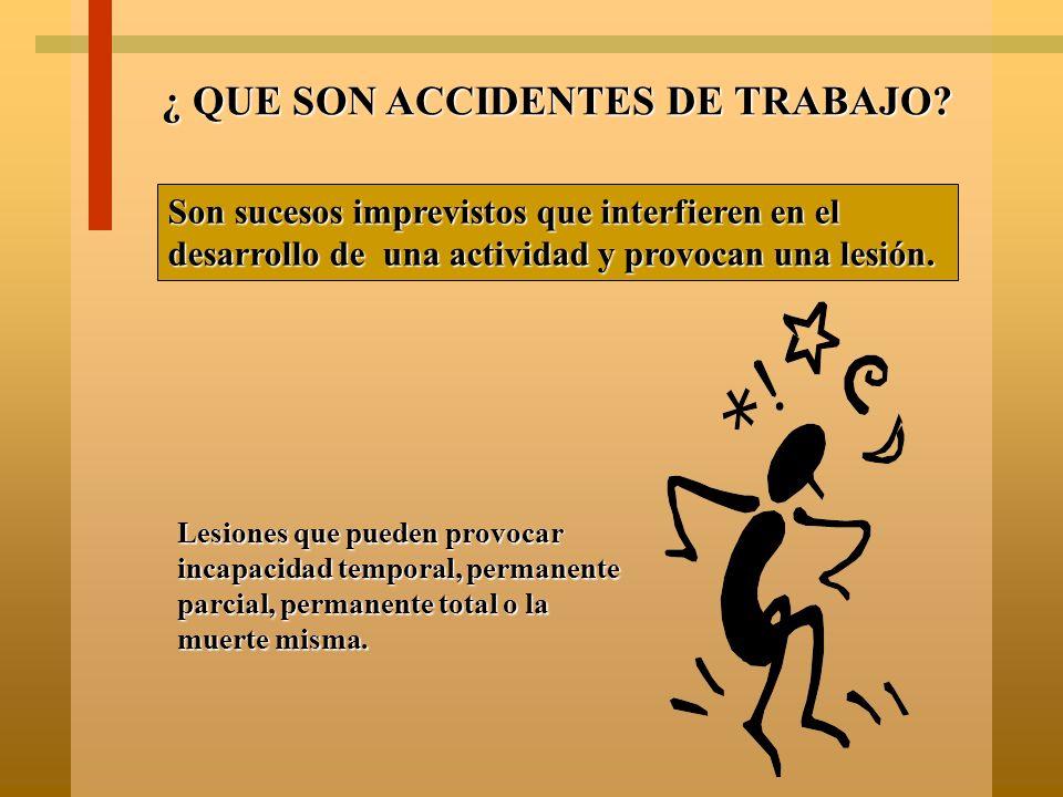 ¿ QUE SON RIESGOS DE TRABAJO? Son los accidentes y enfermedades a que está expuesto un trabajador con motivo de su trabajo. Incluye el trayecto del tr