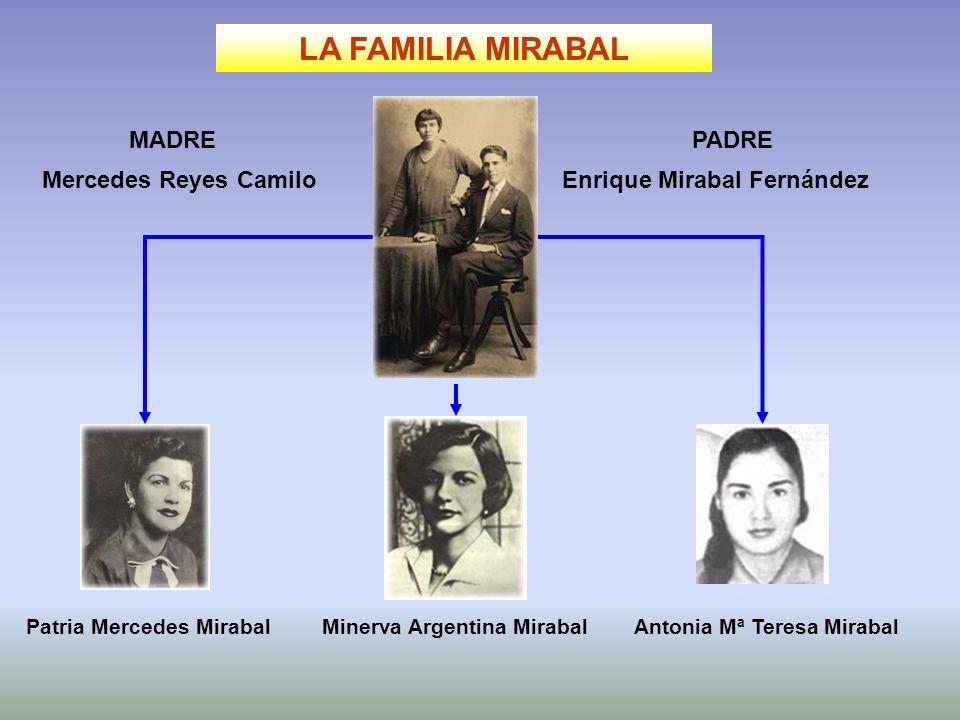 LA FAMILIA MIRABAL Enrique Mirabal FernándezMercedes Reyes Camilo Patria Mercedes MirabalMinerva Argentina MirabalAntonia Mª Teresa Mirabal MADREPADRE