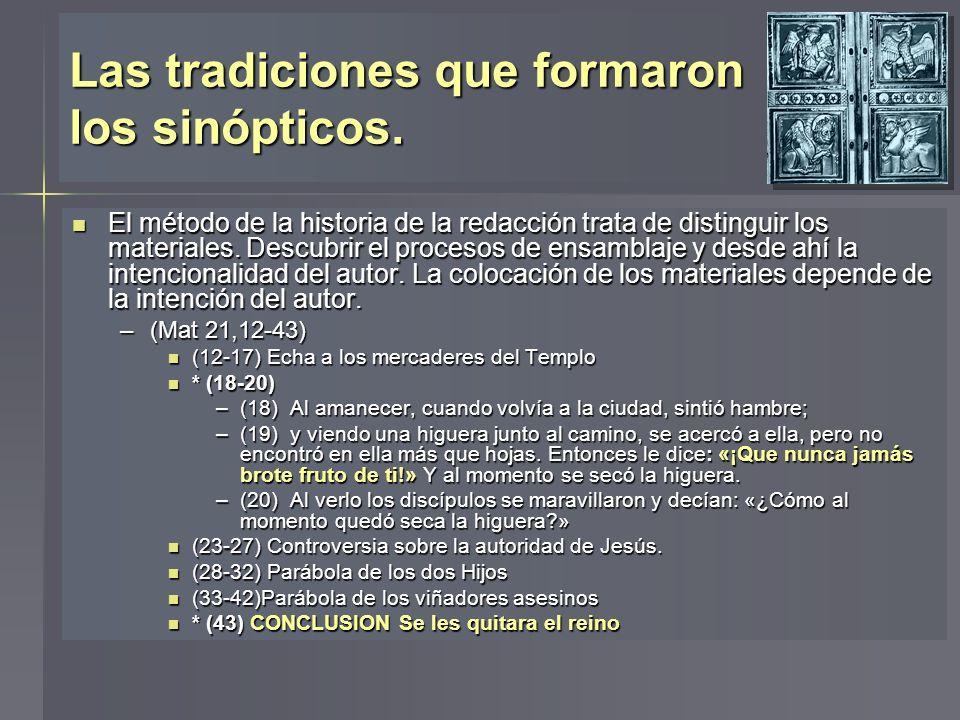 El método de la historia de la redacción trata de distinguir los materiales. Descubrir el procesos de ensamblaje y desde ahí la intencionalidad del au