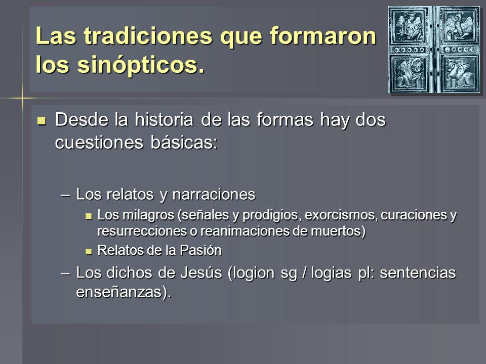 Las tradiciones que formaron los sinópticos. Desde la historia de las formas hay dos cuestiones básicas: Desde la historia de las formas hay dos cuest