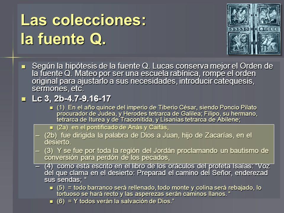 Las colecciones: la fuente Q. Según la hipótesis de la fuente Q. Lucas conserva mejor el Orden de la fuente Q. Mateo por ser una escuela rabínica, rom