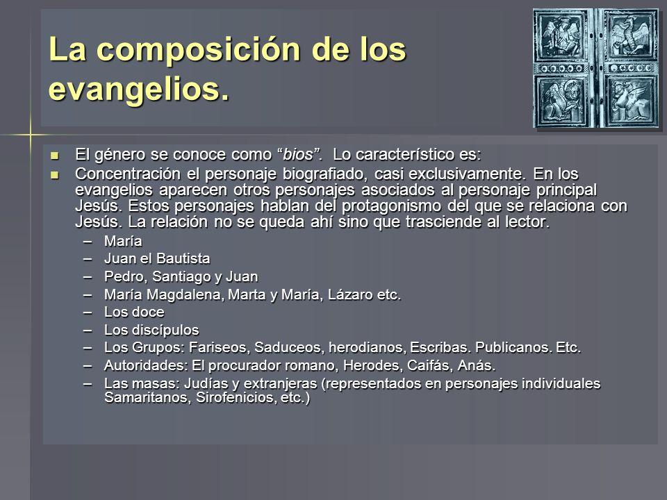La composición de los evangelios. El género se conoce como bios. Lo característico es: El género se conoce como bios. Lo característico es: Concentrac