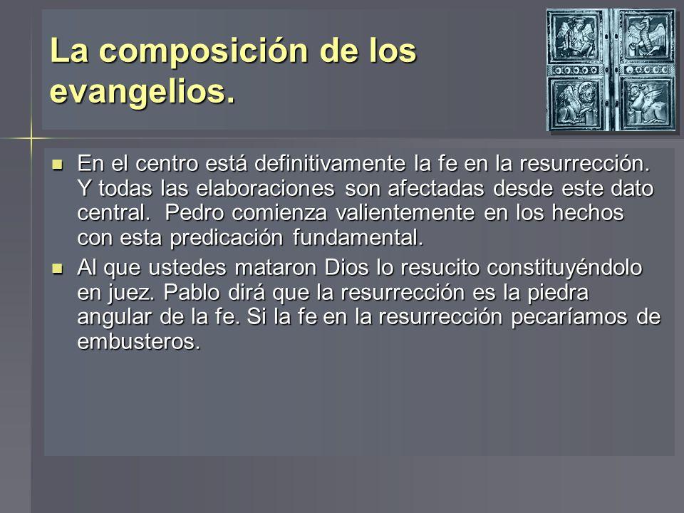 La composición de los evangelios. En el centro está definitivamente la fe en la resurrección. Y todas las elaboraciones son afectadas desde este dato