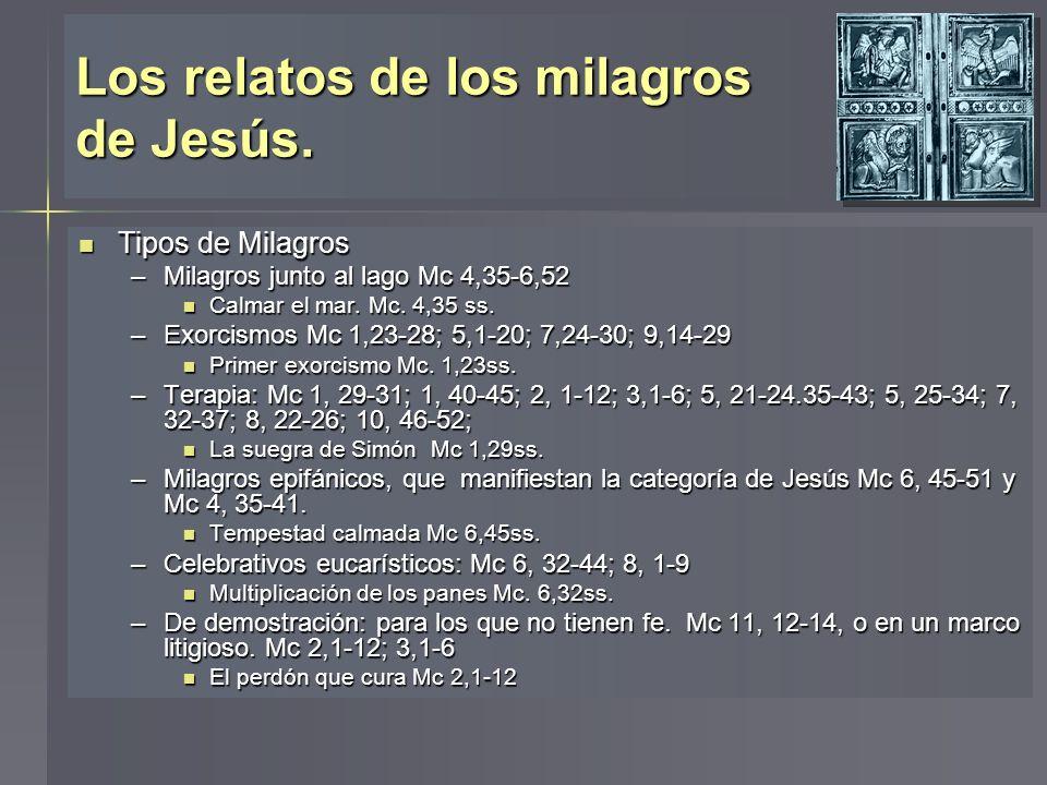 Los relatos de los milagros de Jesús. Tipos de Milagros Tipos de Milagros –Milagros junto al lago Mc 4,35-6,52 Calmar el mar. Mc. 4,35 ss. Calmar el m