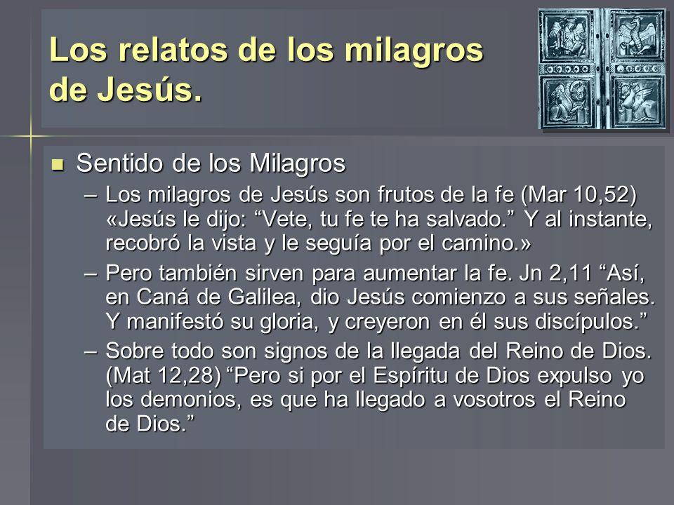 Los relatos de los milagros de Jesús. Sentido de los Milagros Sentido de los Milagros –Los milagros de Jesús son frutos de la fe (Mar 10,52) «Jesús le