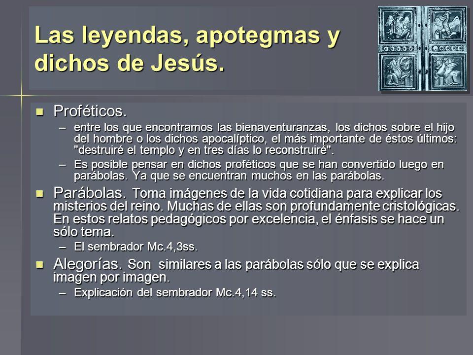 Las leyendas, apotegmas y dichos de Jesús. Proféticos. Proféticos. –entre los que encontramos las bienaventuranzas, los dichos sobre el hijo del hombr