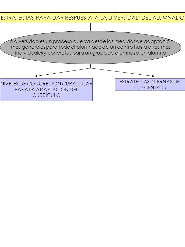 NIVELES DE CONCRECIÓN CURRICULAR PARA LA ADAPTACIÓN DEL CURRÍCULO Primer nivel: DECRETOS DE ENSEÑANZA adaptación a la diversidad y realidad cultural andaluzas de la LOCE Segundo nivel: PROYECTO EDUCATIVO Y PROYECTO CURRICULAR DE CENTRO adaptación a las peculiaridades del centro y su entorno Tercer nivel: PROGRAMACIONES DIDÁCTICAS Cuarto nivel: ADAPTACIONES CURRICULARES INDIVIDUALIZADAS adaptación a un alumno/a concreto adaptación a las características del grupo-aula