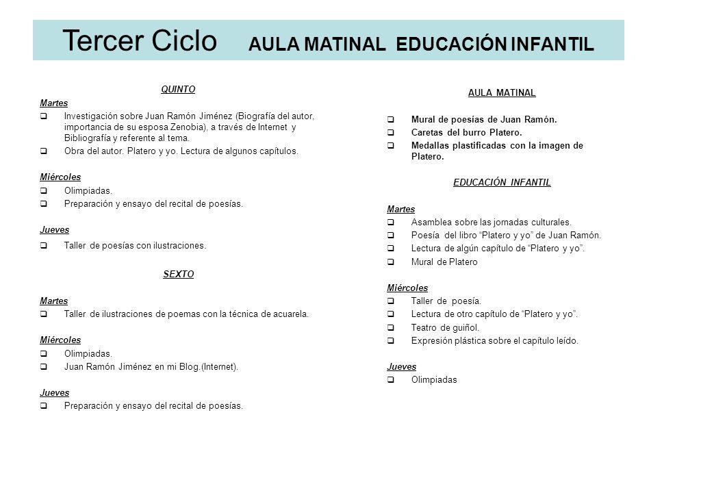Tercer Ciclo AULA MATINAL EDUCACIÓN INFANTIL QUINTO Martes Investigación sobre Juan Ramón Jiménez (Biografía del autor, importancia de su esposa Zenob