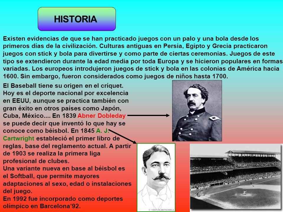 HISTORIA El Baseball tiene su origen en el críquet. Hoy es el deporte nacional por excelencia en EEUU, aunque se practica también con gran éxito en ot