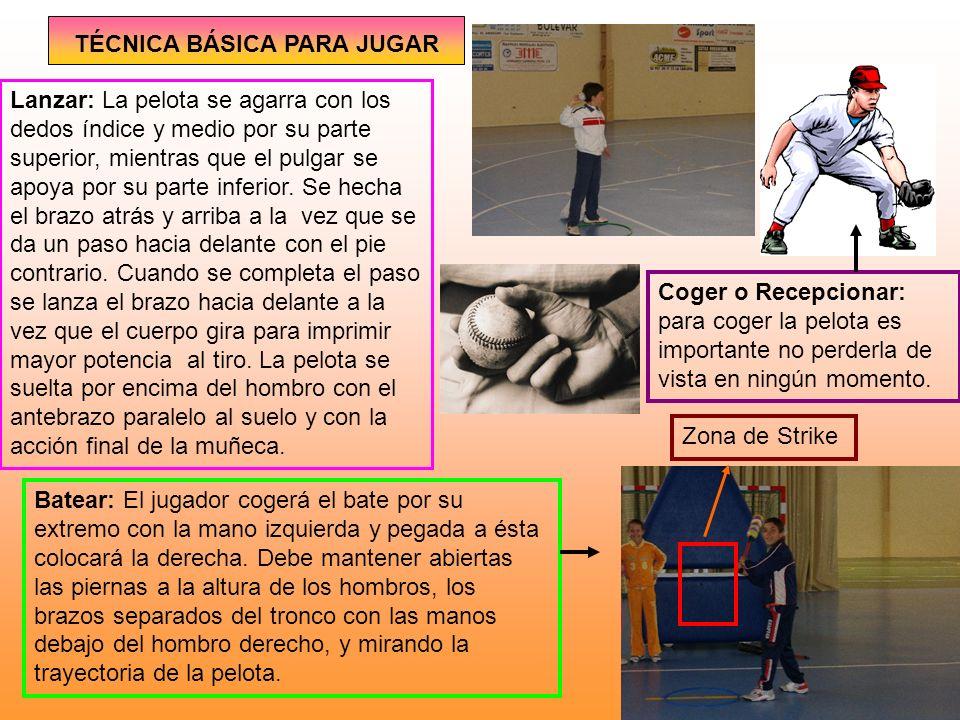 JUEGO DE EQUIPO EL EQUIPO A LA DEFENSIVA El lanzador o pitcher: es el jugador clave en el equipo y tiene que lanzar la pelota hacia su receptor o catcher de forma que, pasando por la Zona de Strike (zona comprendida entre las axilas y las rodillas del bateador), el bateador no golpee la pelota.