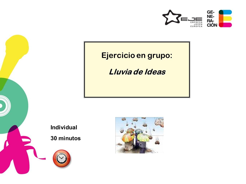 Ejercicio en grupo: Lluvia de Ideas 30 minutos Individual