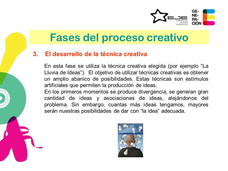 3.El desarrollo de la técnica creativa En esta fase se utiliza la técnica creativa elegida (por ejemplo La Lluvia de Ideas). El objetivo de utilizar t