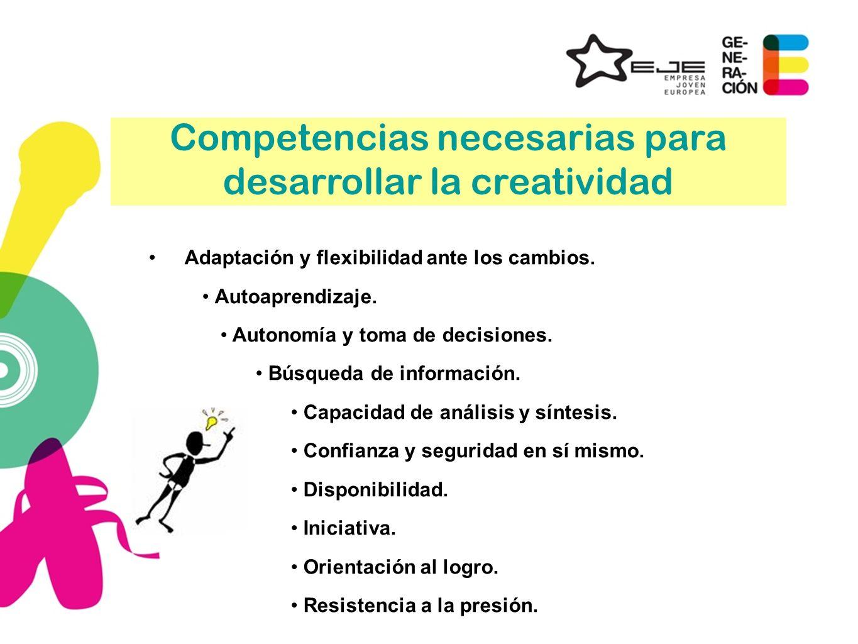 Competencias necesarias para desarrollar la creatividad Adaptación y flexibilidad ante los cambios. Autoaprendizaje. Autonomía y toma de decisiones. B