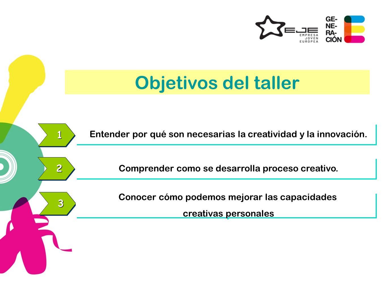 11 Entender por qué son necesarias la creatividad y la innovación. 22 Comprender como se desarrolla proceso creativo. 33 Conocer cómo podemos mejorar