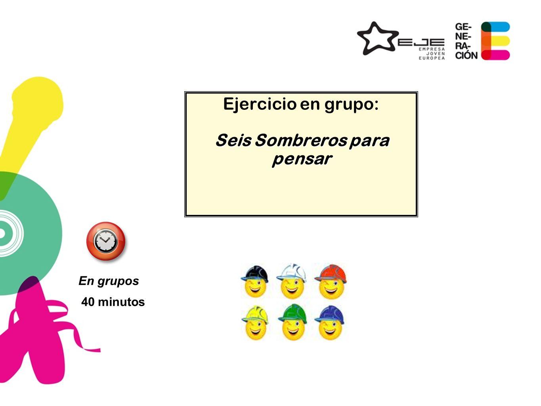 Ejercicio en grupo: Seis Sombreros para pensar 40 minutos En grupos