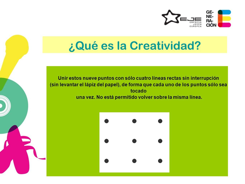 ¿Qué es la Creatividad? Unir estos nueve puntos con sólo cuatro líneas rectas sin interrupción (sin levantar el lápiz del papel), de forma que cada un