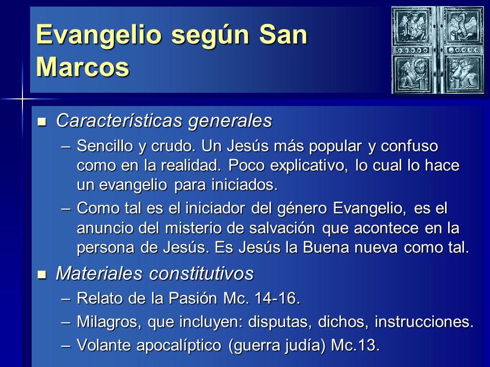Evangelio según San Marcos Línea teológica Línea teológica –El título que más usa, 14 veces, para referirse a Jesús es El Hijo del Hombre.