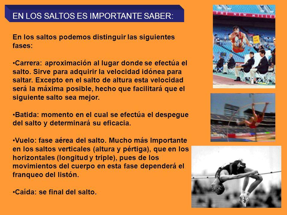 EN LOS SALTOS ES IMPORTANTE SABER: En los saltos podemos distinguir las siguientes fases: Carrera: aproximación al lugar donde se efectúa el salto. Si