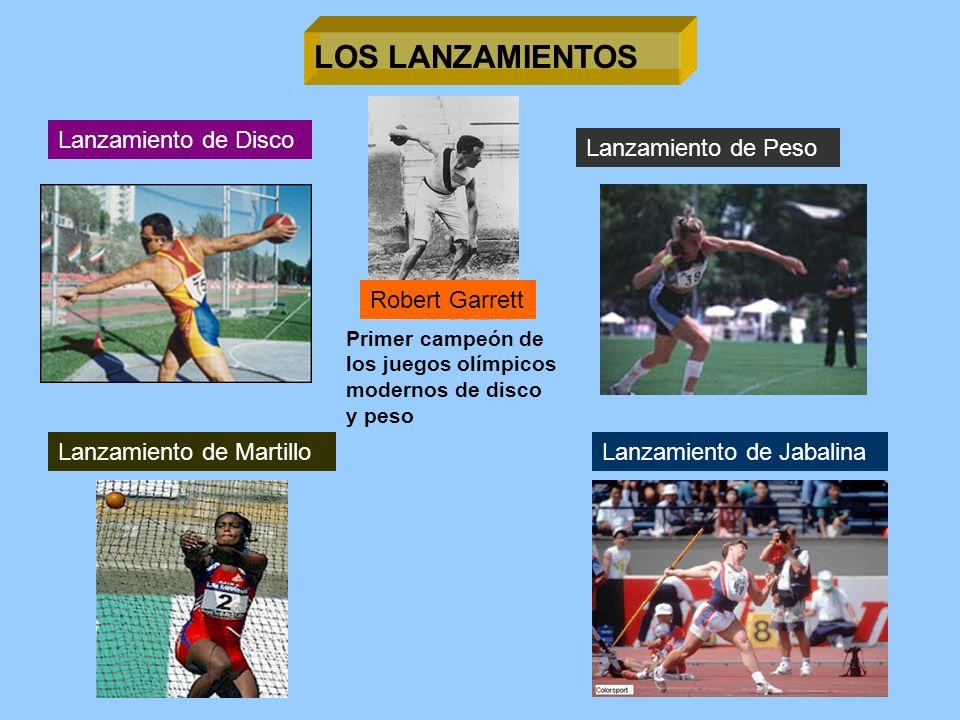 LOS LANZAMIENTOS Lanzamiento de Disco Lanzamiento de Peso Lanzamiento de JabalinaLanzamiento de Martillo Primer campeón de los juegos olímpicos modern