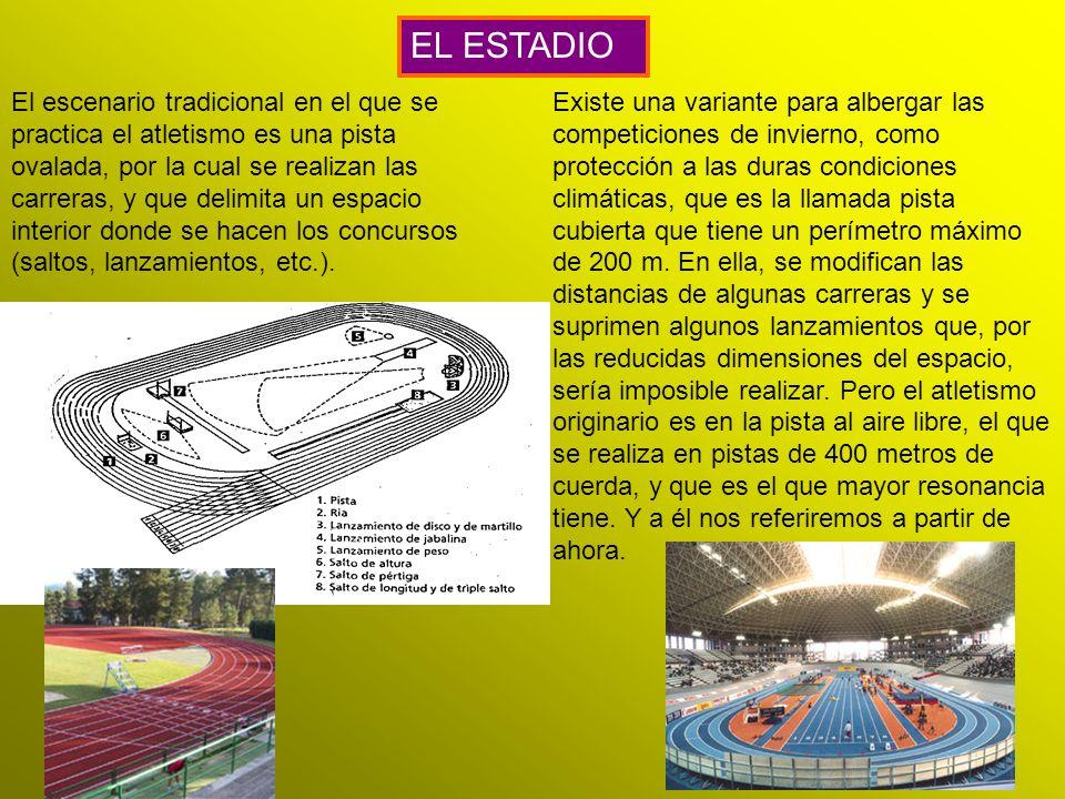 El escenario tradicional en el que se practica el atletismo es una pista ovalada, por la cual se realizan las carreras, y que delimita un espacio inte