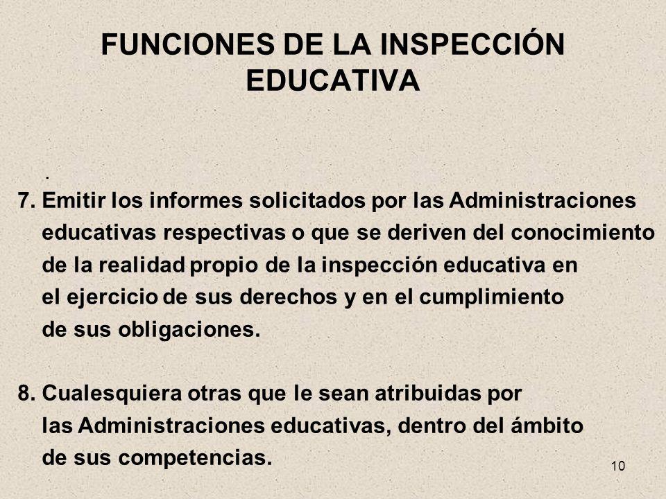 10 FUNCIONES DE LA INSPECCIÓN EDUCATIVA. 7. Emitir los informes solicitados por las Administraciones educativas respectivas o que se deriven del conoc