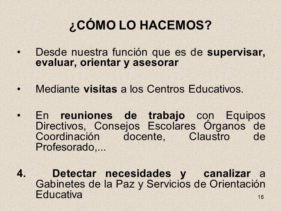 16 ¿CÓMO LO HACEMOS? Desde nuestra función que es de supervisar, evaluar, orientar y asesorar Mediante visitas a los Centros Educativos. En reuniones