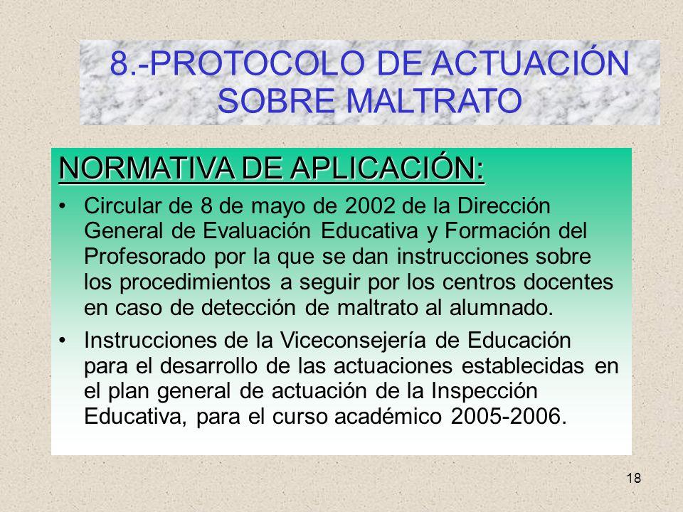 18 8.-PROTOCOLO DE ACTUACIÓN SOBRE MALTRATO NORMATIVA DE APLICACIÓN: Circular de 8 de mayo de 2002 de la Dirección General de Evaluación Educativa y F