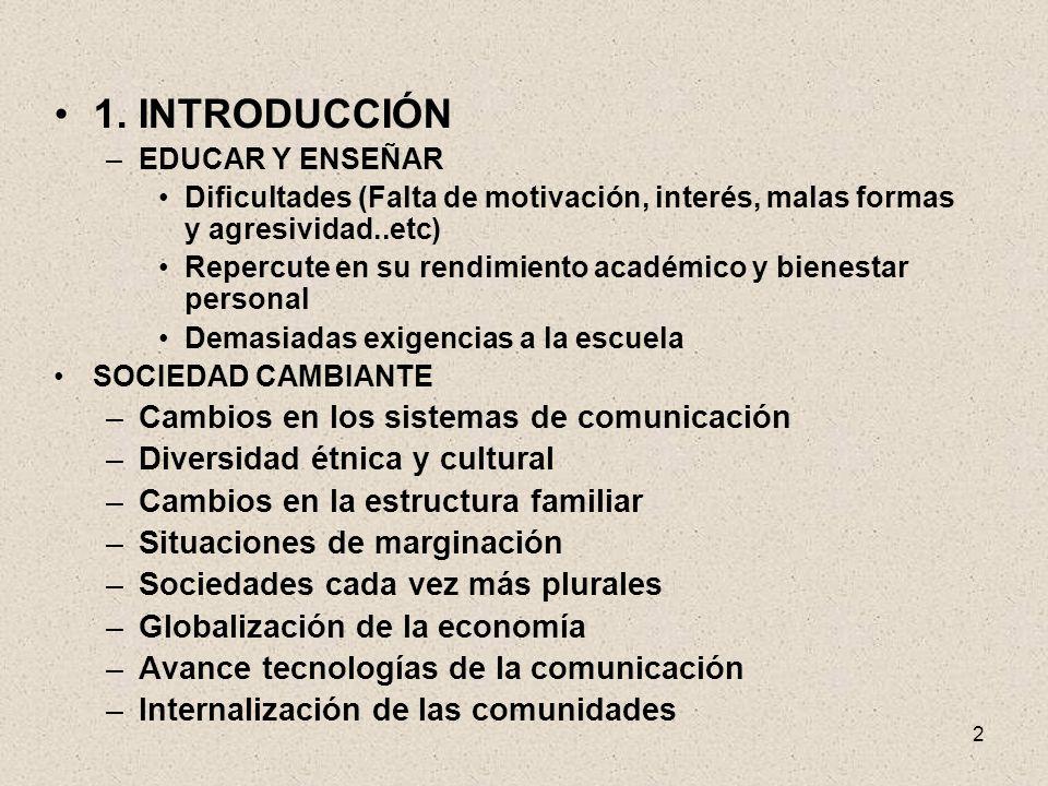 2 1. INTRODUCCIÓN –EDUCAR Y ENSEÑAR Dificultades (Falta de motivación, interés, malas formas y agresividad..etc) Repercute en su rendimiento académico